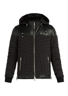 Balmain Padded perforated leather and nylon jacket