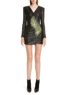 Balmain Palm Embellished Sequin Minidress