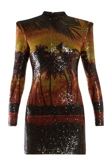 Balmain Palm-tree sequinned mini dress