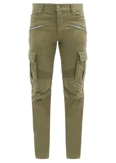 Balmain Panelled cotton-blend tapered cargo trousers