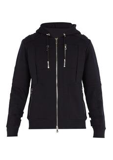 Balmain Panelled cotton-jersey hooded sweatshirt