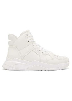 Balmain Panelled leather basketball trainers