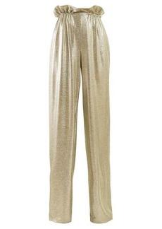 Balmain Paperbag-waist lamé trousers