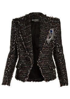 Balmain Badge-appliqué tweed blazer