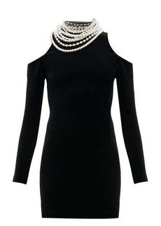 Balmain Pearl cut-out shoulder velvet mini dress