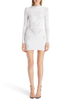 Balmain Perforated Stretch Knit Minidress