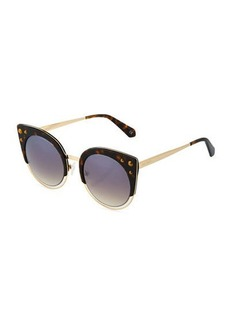 Balmain Plastic/Metal Studded Cat-Eye Sunglasses