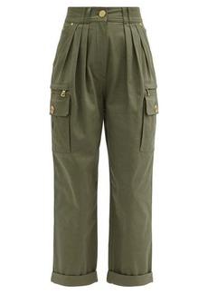 Balmain Pleated high-rise cotton-blend cargo trousers