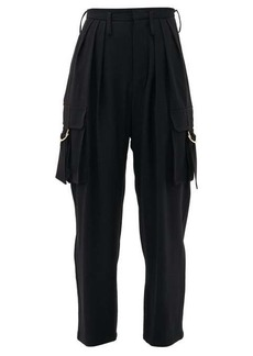 Balmain Pleated high-rise tapered cargo trousers