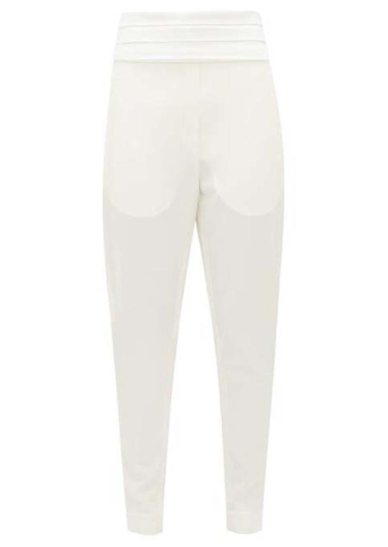 Balmain Pleated-satin wool-crepe trousers