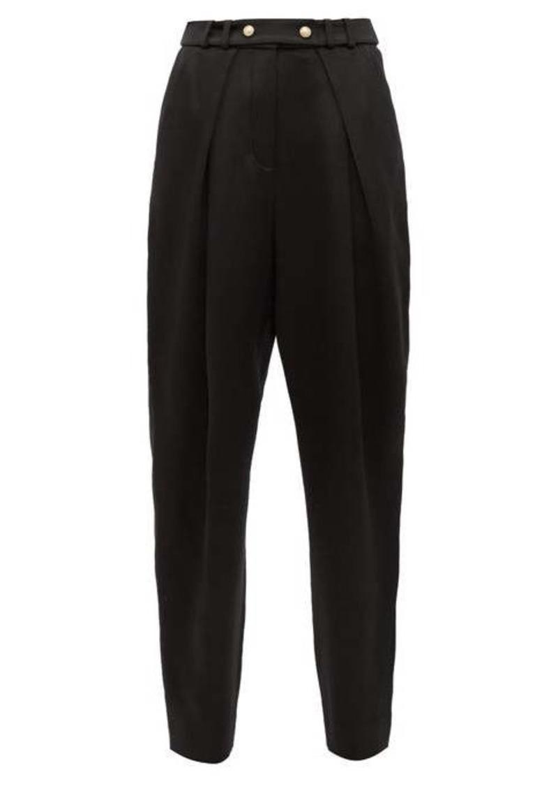 Balmain Pleated silk-satin tapered trousers