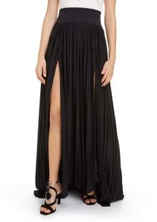 Balmain Plissé Pleated Jersey Maxi Skirt