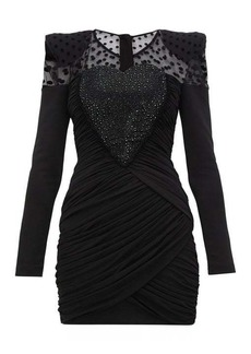 Balmain Polka-dot crystal-heart ruched chiffon mini dress