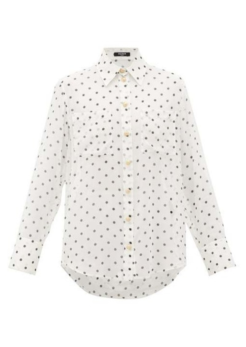 Balmain Polka-dot silk blouse