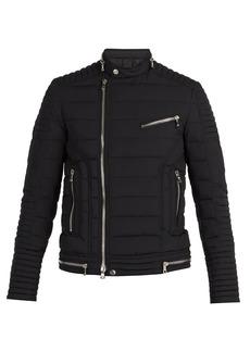 Balmain Quilted down biker jacket