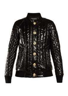 Balmain Quilted high-shine bomber jacket