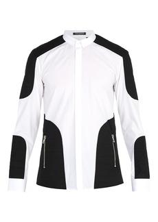 Balmain Quilted panelled cotton-poplin shirt