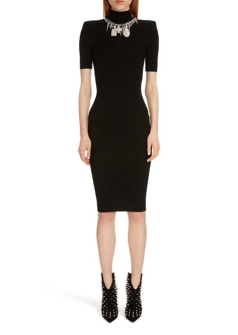 Balmain Rib Sweater Dress with Detachable Necklace