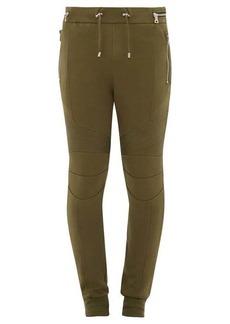 Balmain Ribbed-inset cotton biker track pants