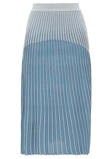 Balmain Ribbed jacquard-knit midi skirt