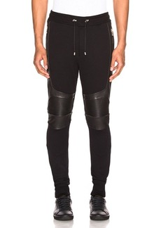 BALMAIN Ribbed Moto Sweatpants with Leather Details