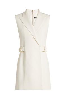 Balmain Ring-detail crepe waistcoat dress