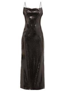 Balmain Rouleaux-strap sequinned slip dress