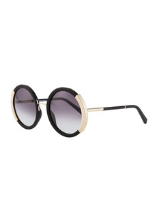 Balmain Round Gradient Acetate Sunglasses w/ Ridged Metal Trim