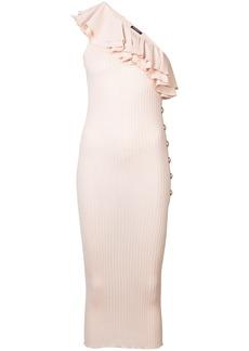 Balmain ruffle-trimmed knit dress - Pink & Purple