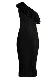 Balmain Ruffle-trimmed one-shoulder jersey dress