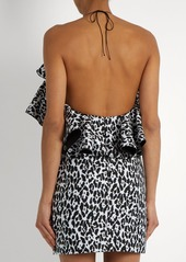 Balmain Ruffled leopard-print mini dress