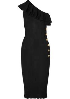 Balmain Ruffled one-shoulder ribbed-knit midi dress