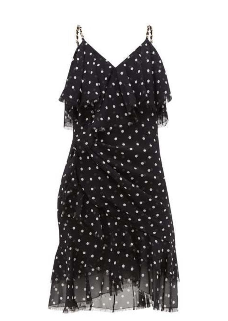 Balmain Ruffled polka-dot silk-georgette mini dress