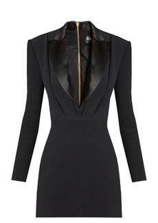 Balmain Satin-lapel mini tuxedo dress