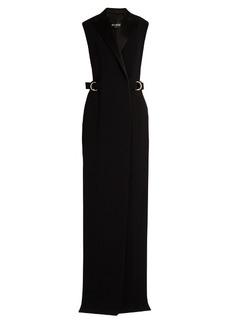 Balmain Satin-lapel sleeveless crepe coat
