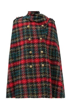 Balmain Scarf-trimmed tartan tweed cape