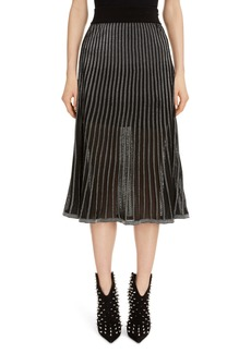 Balmain Semi Sheer Metallic Pleated Skirt