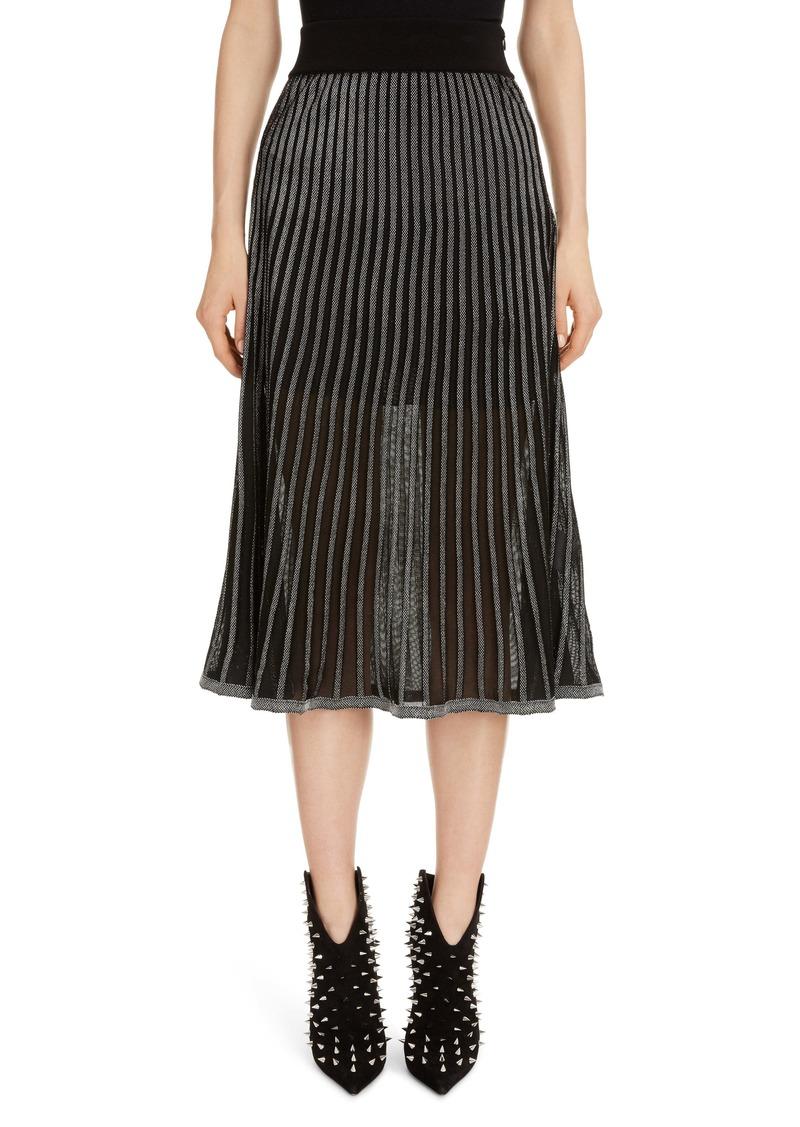 Balmain Semi Sheer Metallic Pleated Skirt