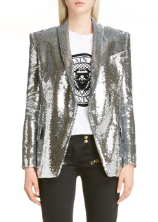 Balmain Sequin Single Breasted Blazer