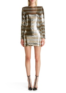 Balmain Sequin Stripe Minidress