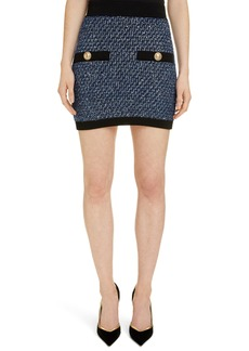 Balmain Sequin Tweed Miniskirt
