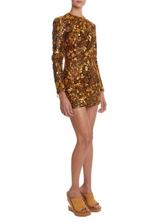 Balmain Sequined Giraffe-Patterned Mini Dress