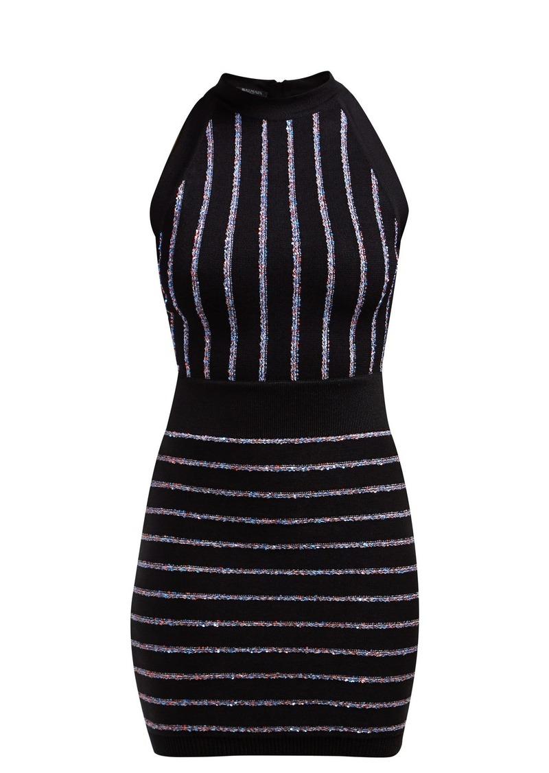 Balmain Sequinned knitted halterneck mini dress
