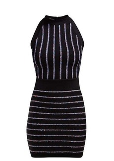 Balmain Sequinned knitted halterneck mini dress