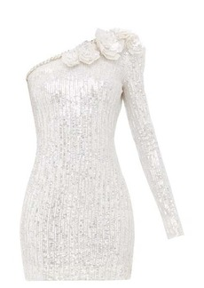 Balmain Sequinned one-shoulder mini dress