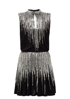 Balmain Sequinned pleated silk-crepe mini dress