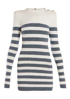 Balmain Sequinned striped-knit mini dress