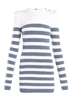 Balmain Sequinned striped-knit mini dress