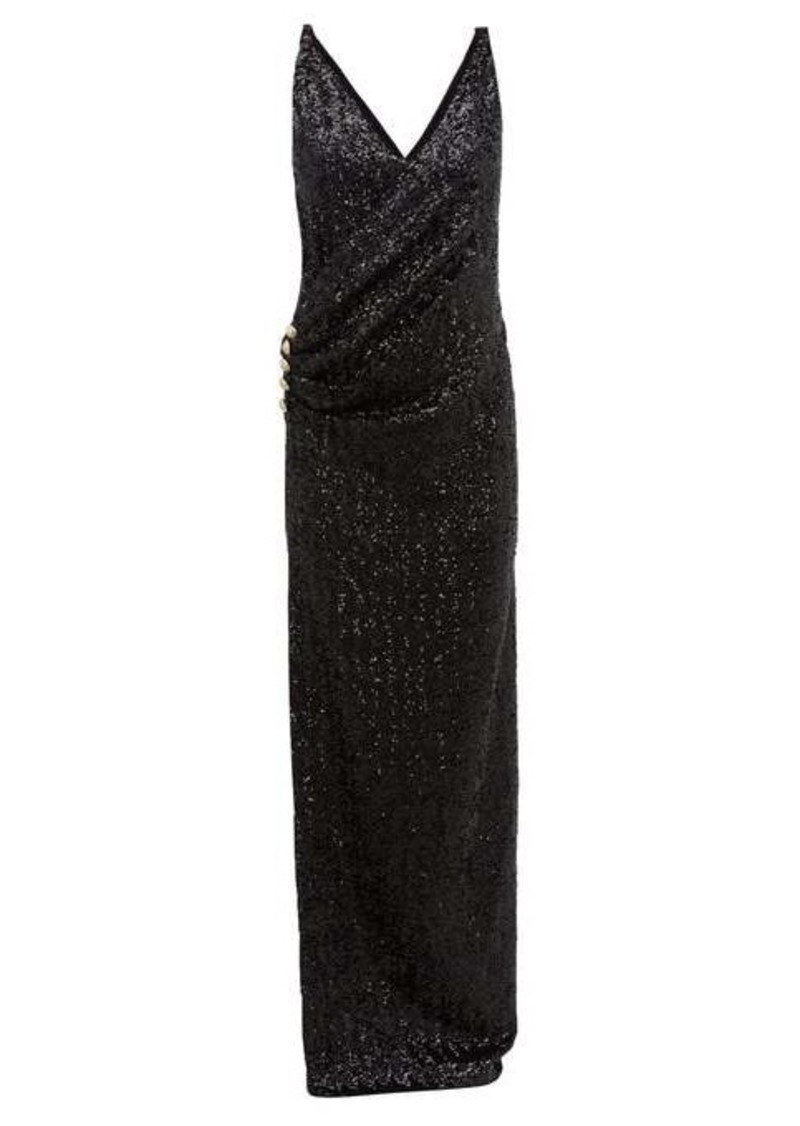 Balmain Sequinned wrap-effect gown