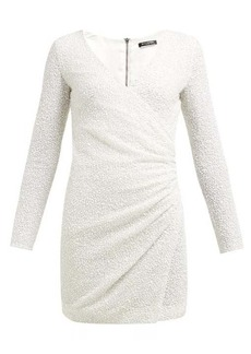 Balmain Sequinned wrap-front crepe mini dress